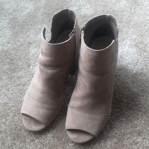 Open toe tan booties